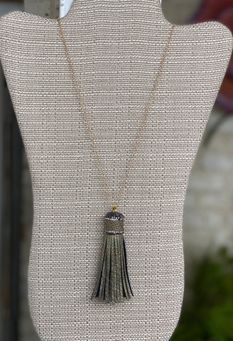 Snake Skin Tassel Necklace