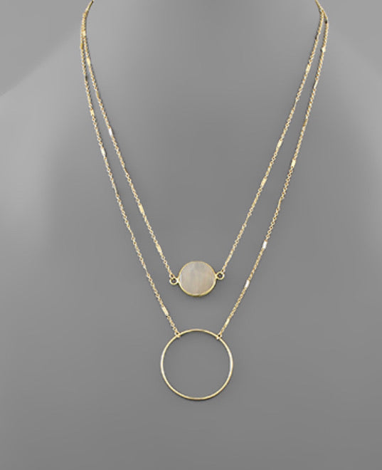 Stone Disc & Circle Layer Necklace