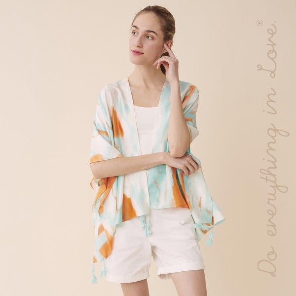Short Watercolor Kimono with Tassels