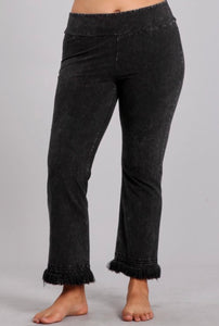 Mineral Wash Pants with Fringe Ankle Detail