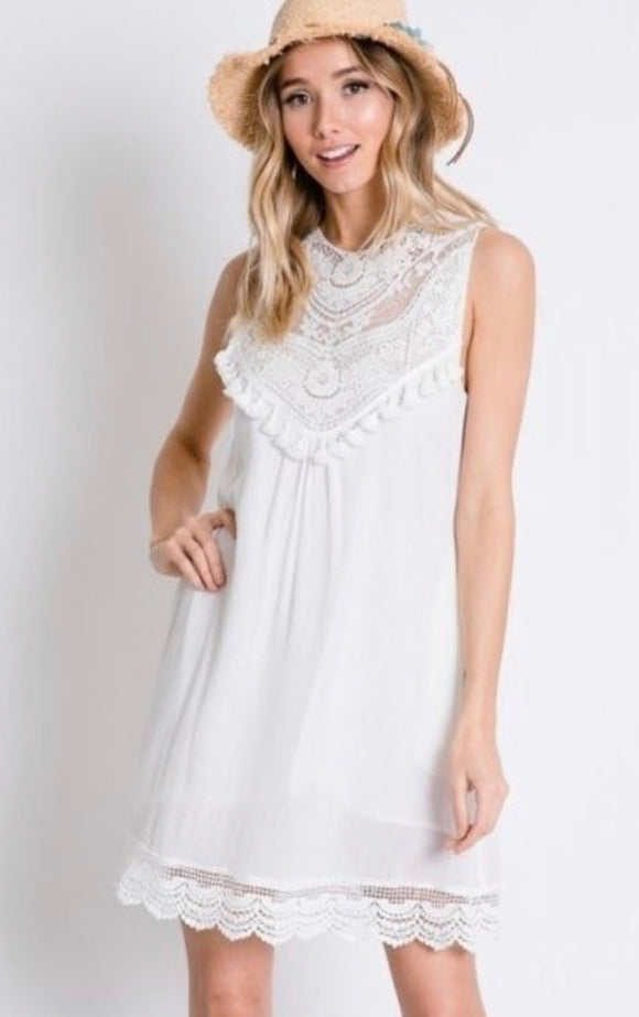 Crochet and Lace Shift Dress - The Sock Dudes