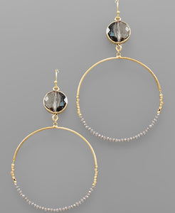 Crystal and Bead Circle Earrings