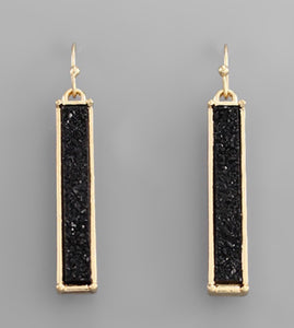 Rectangle Druzy Earring