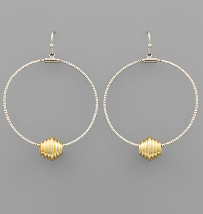 Barrel Charm Circle Earrings