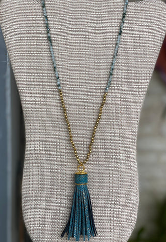 Snake Skin Tassel & Beaded Necklace