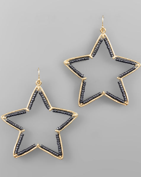Star Earrings with Beaded Detail - The Sock Dudes
