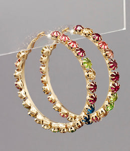 50mm Rhinestone Pave Hoops