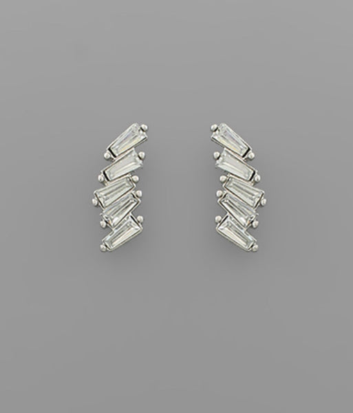 Crystal Linked Bar Earrings - The Sock Dudes