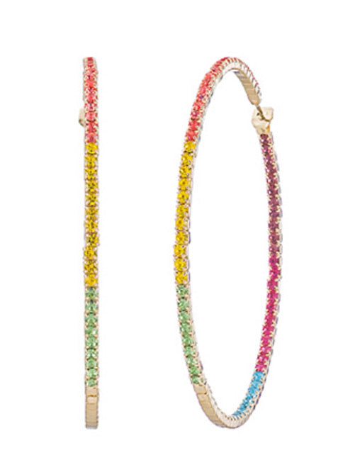 60mm Crystal Pave Hoops