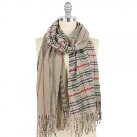 Plaid and Stripe Oblong Scarf