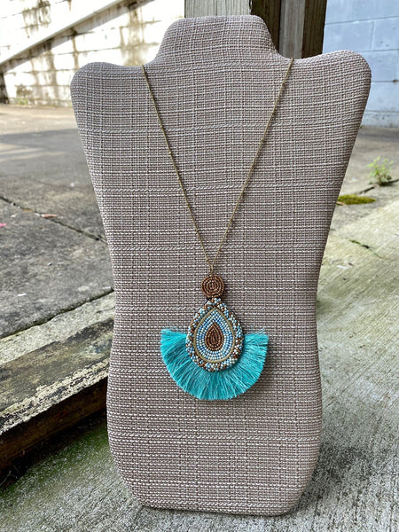 Bead Teardrop Tassel Necklace