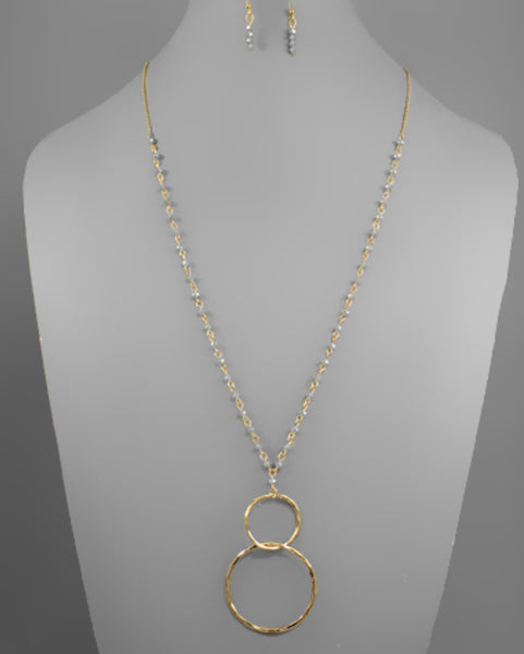 Linked Circle and Glass Bead Necklace - The Sock Dudes