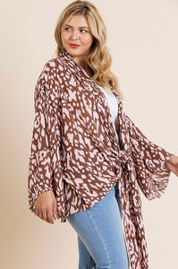 Animal Print Bell Sleeve Kimono - The Sock Dudes