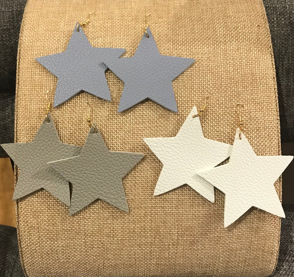 Large Leather Star Earrings - The Sock Dudes