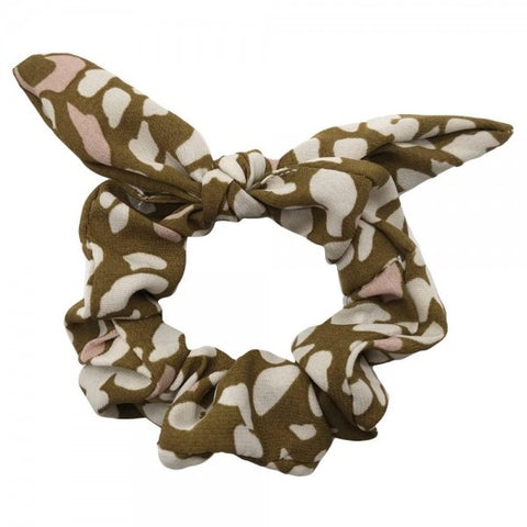 Olive Leopard Print Bow Scrunchy - The Sock Dudes