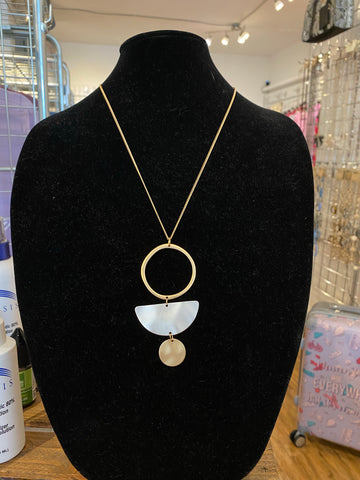 Circle and Wedge Disc Necklace