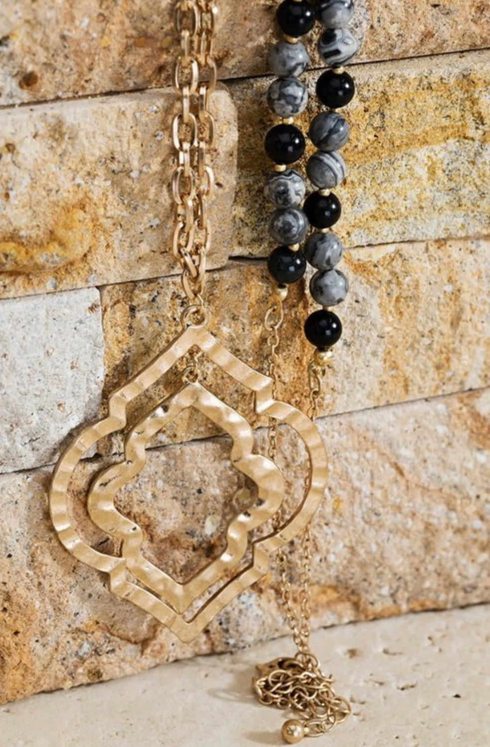 Metal Chain and Natural Stone Necklace