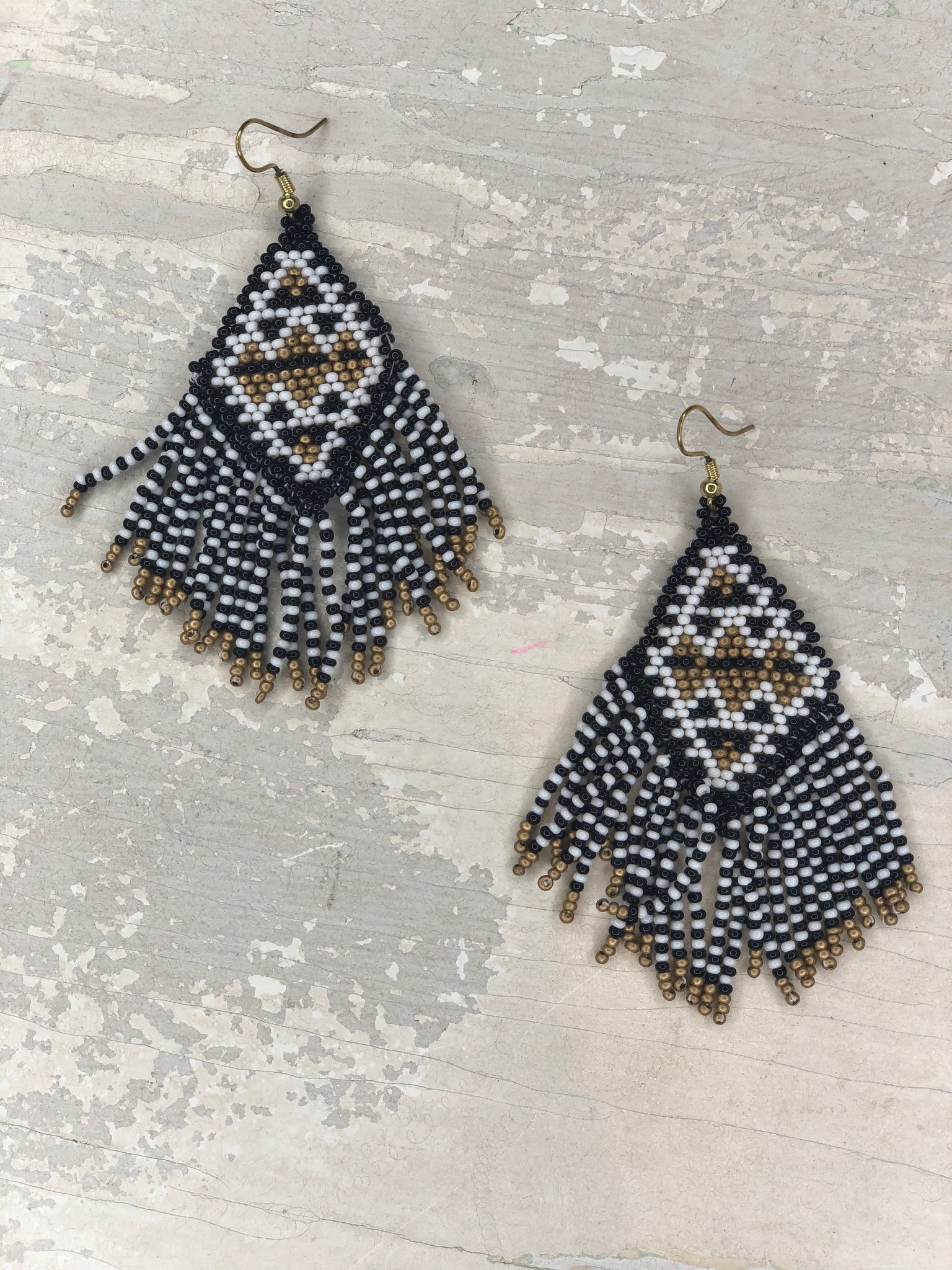 Bead Rhombus Tassel Earrings - The Sock Dudes
