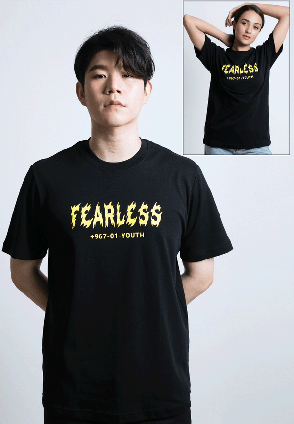 FEARLESS YOUTH PRINT COTTON JERSEY T-SHIRT