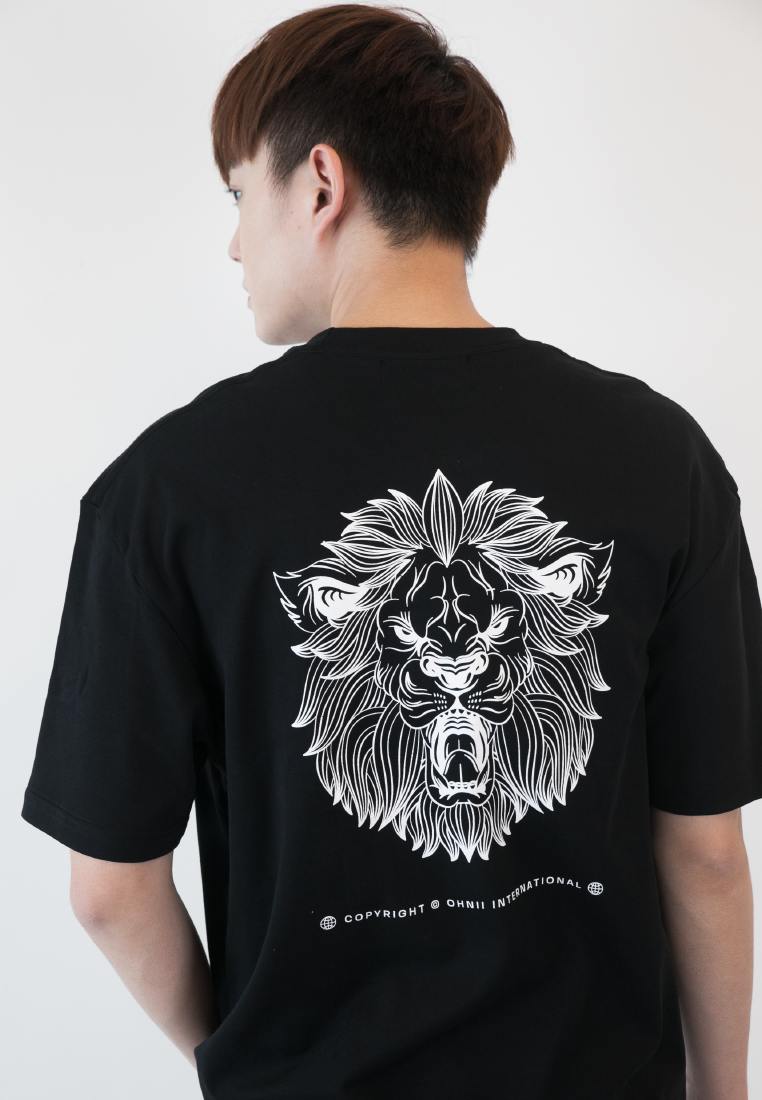 OVERSIZED LOGO FEARLESS LION PRINT COTTON JERSEY TSHIRT - Ohnii Official Site