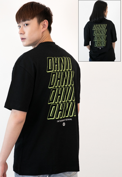 Oversized Repetition Logo Print Cotton Jersey T-Shirt (BLACK) - Ohnii Official Site