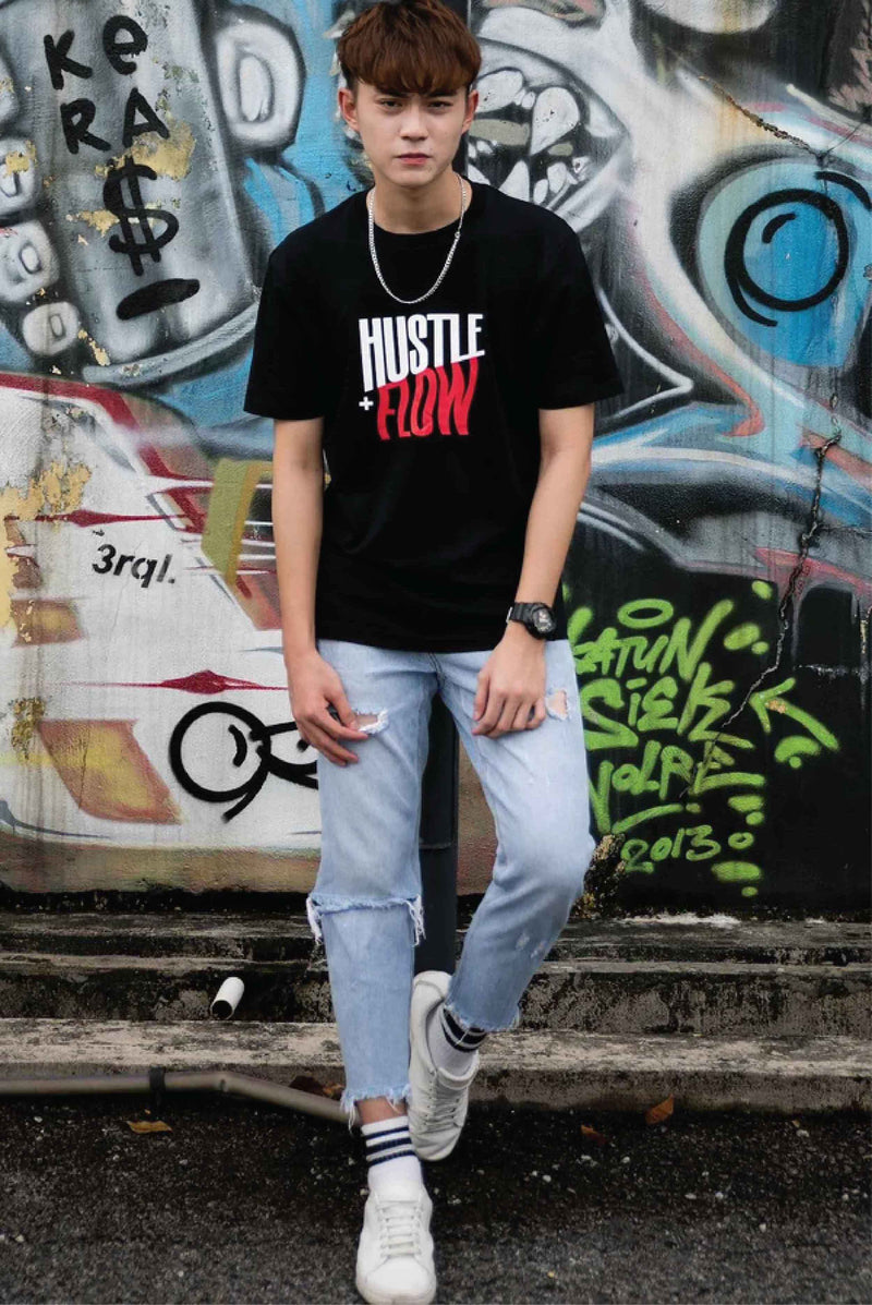 HUSTLE & FLOW PRINT COTTON JERSEY T-SHIRT (RED) - Ohnii Official Site