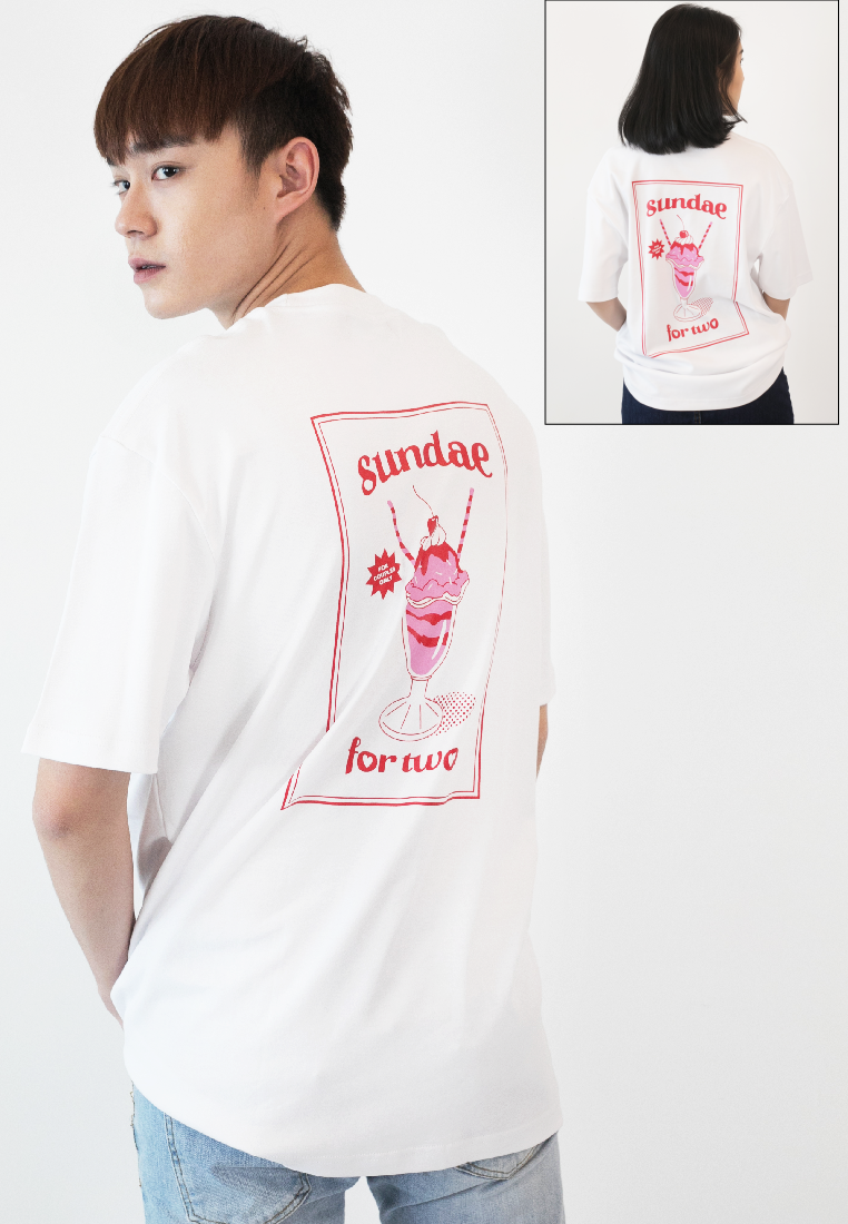 OVERSIZED SUNDAE F0R TWO PRINT COTTON JERSEY TSHIRT - Ohnii Official Site