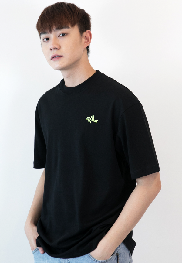 Oversized Repetition Logo Print Cotton Jersey T-Shirt (BLACK)