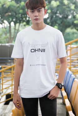 LOGO BULL PRINT COTTON JERSEY T-SHIRT (WHITE) - Ohnii Official Site