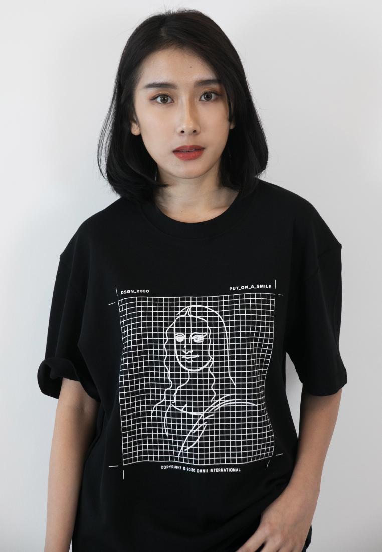 OVERSIZED MONALISA PRINT COTTON JERSEY TSHIRT - Ohnii Official Site