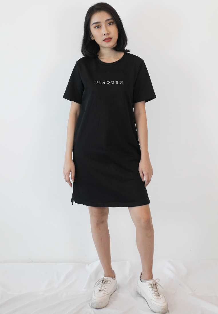 BLAQUIIN EMBROIDERED LOGO WOMEN COTTON TEE DRESS - Ohnii Official Site