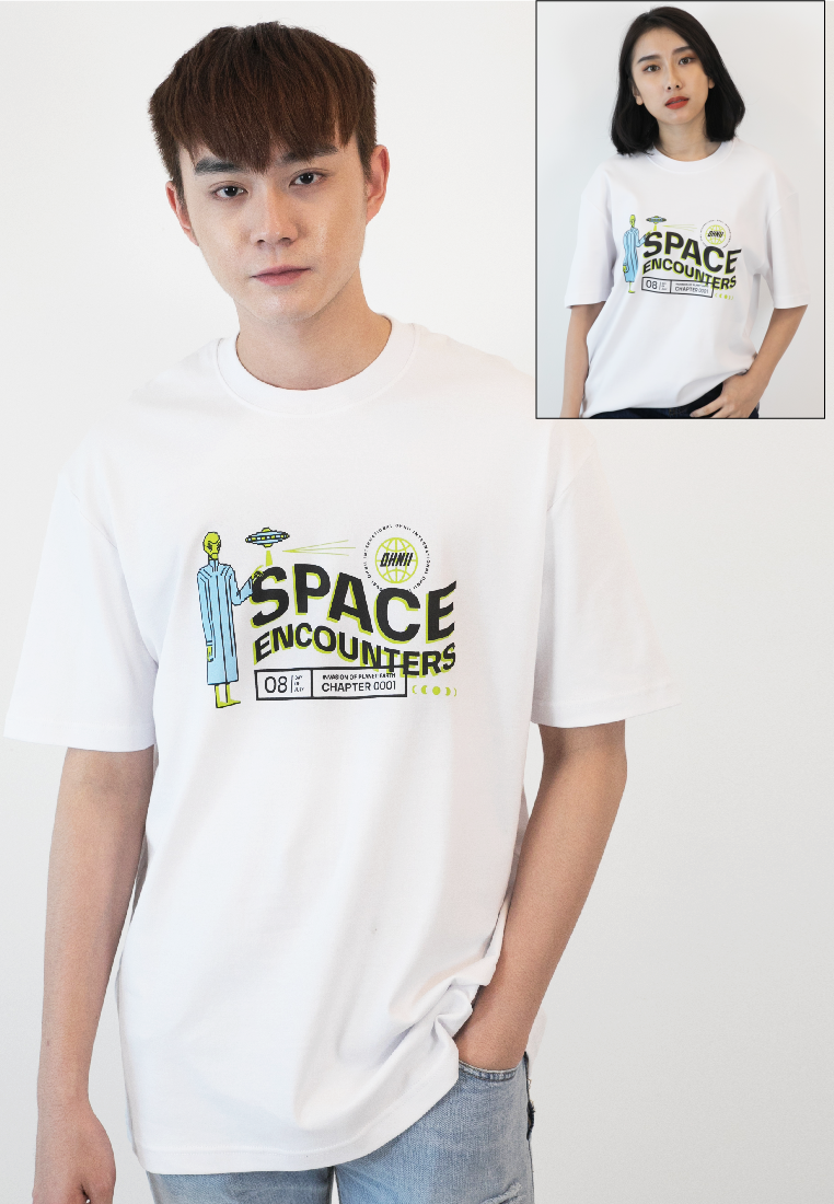OVERSIZED EARTH INVASION PRINT COTTON JERSEY TSHIRT - Ohnii Official Site