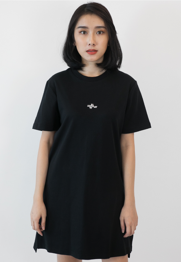 EMBROIDERED LOGOMARK WOMEN COTTON TEE DRESS - Ohnii Official Site