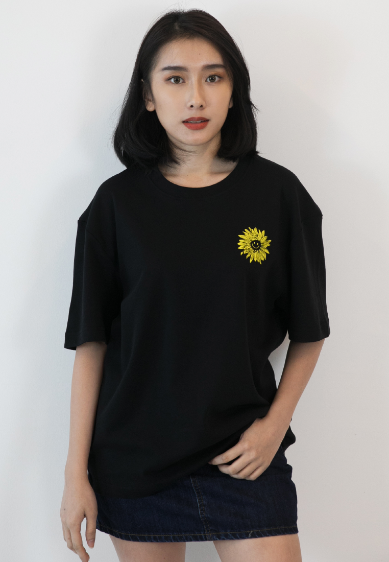OVERSIZED SUNFLOWER I'M GONNA SHINE PRINT COTTON JERSEY TSHIRT - Ohnii Official Site