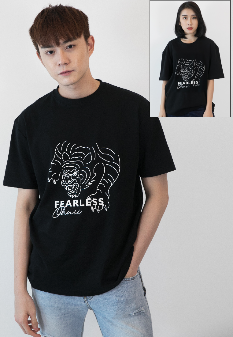 OVERSIZED FEARLESS TIGER PRINT COTTON JERSEY TSHIRT - Ohnii Official Site