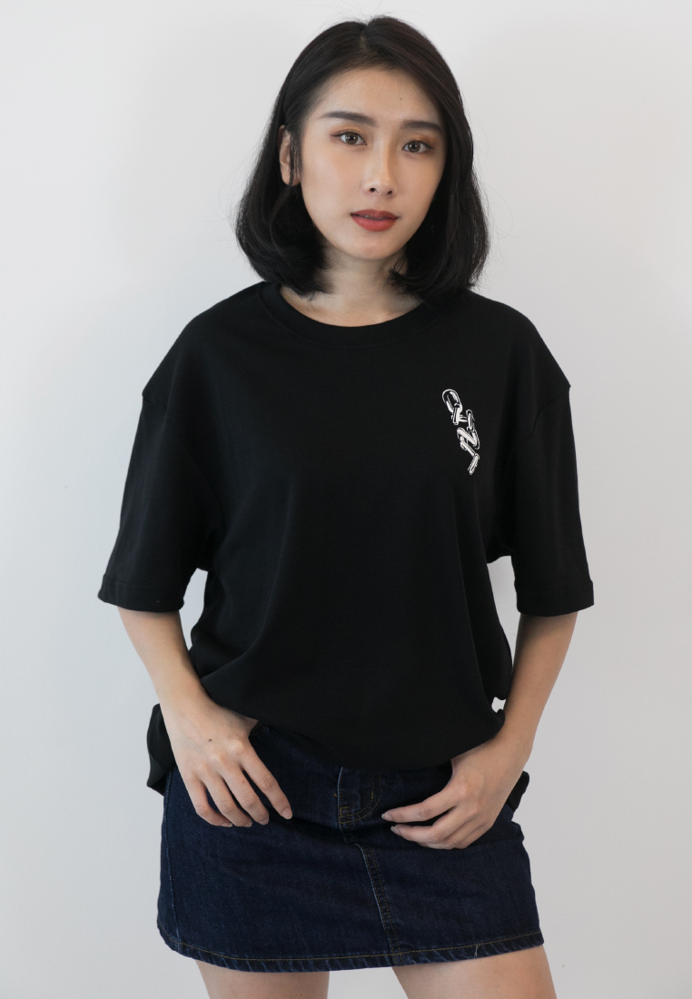 OVERSIZED CHAIN PRINT COTTON JERSEY TSHIRT - Ohnii Official Site