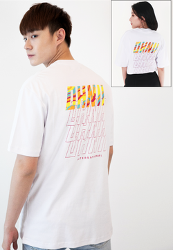 OVERSIZED CAMO REPETITION PRINT COTTON JERSEY T-SHIRT (WHITE) - Ohnii Official Site