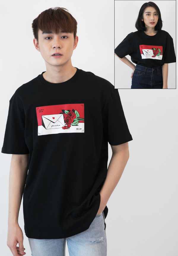 OVERSIZED LOVE LETTER PRINT COTTON JERSEY TSHIRT - Ohnii Official Site
