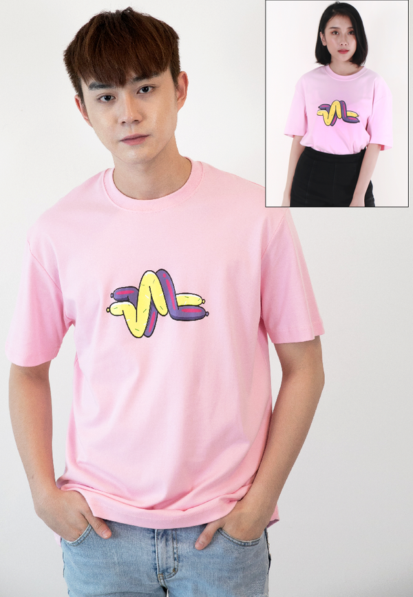 OVERSIZED LOGOMARK BALLOON PRINT COTTON JERSEY T-SHIRT (PINK) - Ohnii Official Site