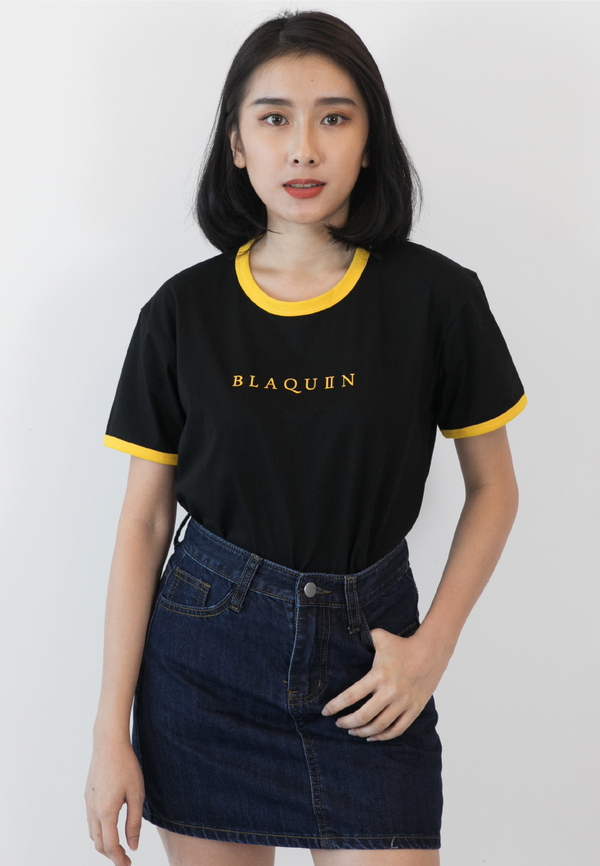 BLAQUIIN LOGO RINGER TEE (BL/YW) - Ohnii Official Site