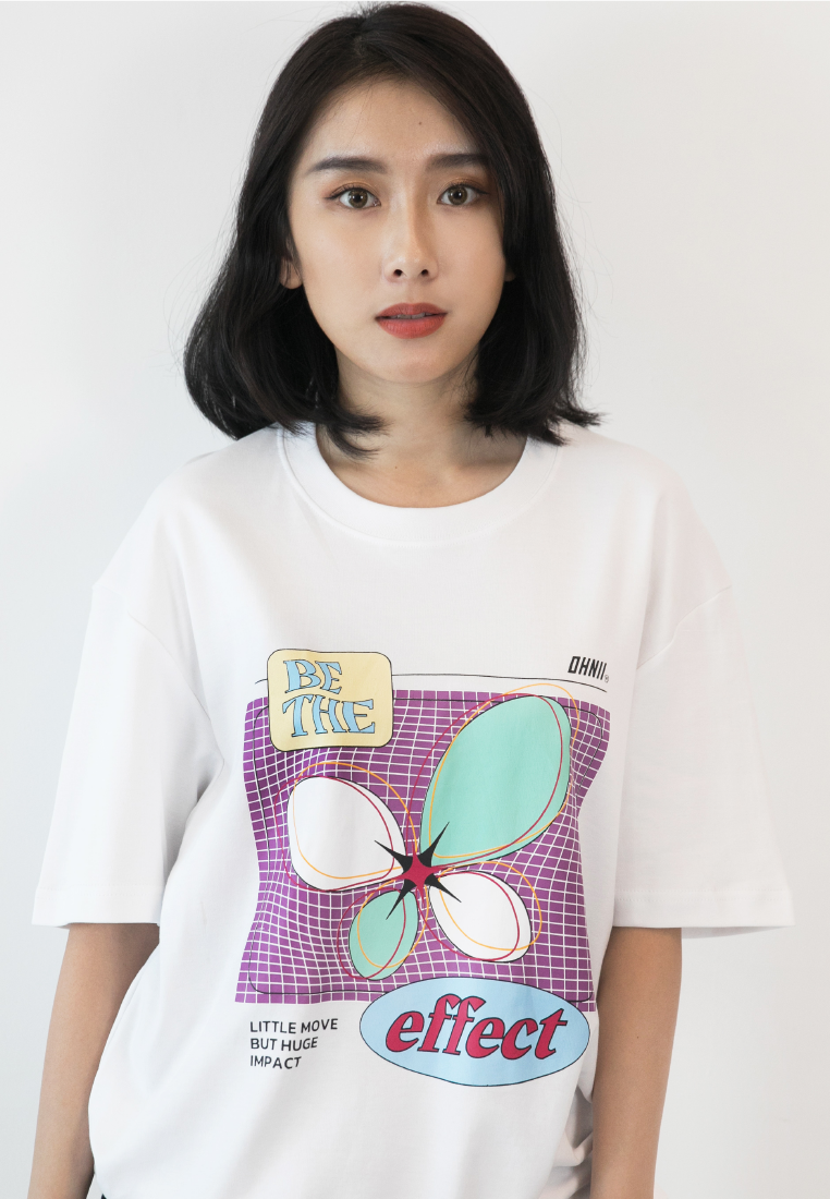 OVERSIZED BUTTERFLY EFFECT COTTON JERSEY TSHIRT - Ohnii Official Site