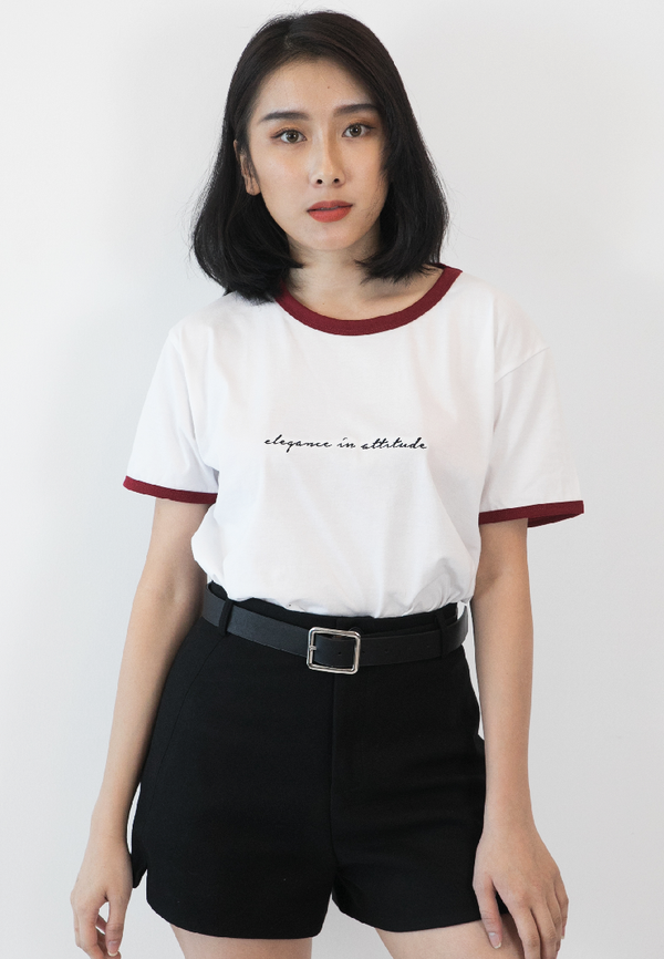 BLAQUIIN EMBROIDERY QUOTE RINGER TEE
