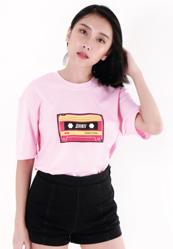 OVERSIZED LOGO CASSETTE PRINT COTTON JERSEY T-SHIRT (PINK) - Ohnii Official Site