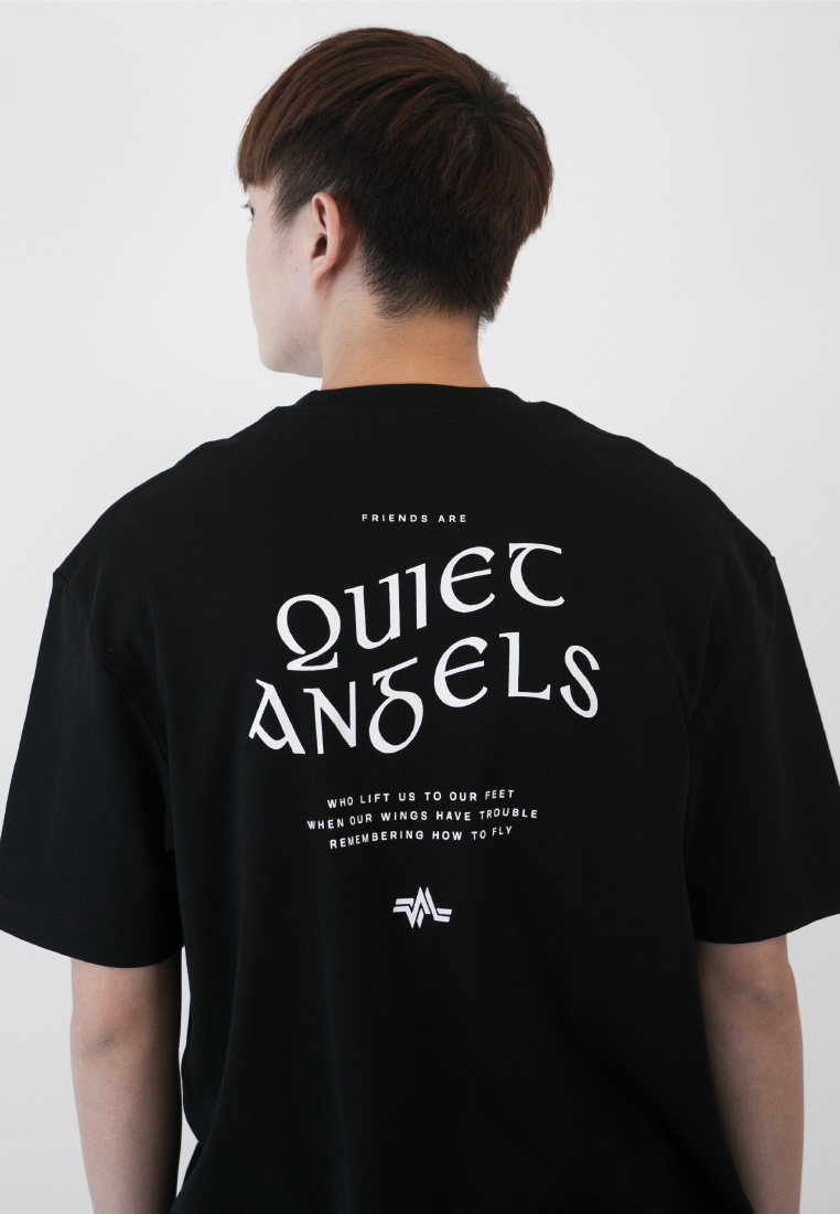 OVERSIZED QUIET ANGEL PRINT COTTON JERSEY TSHIRT - Ohnii Official Site