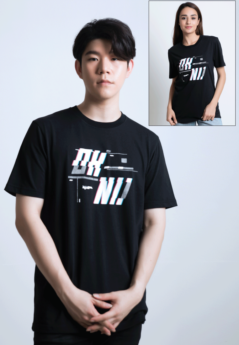 LOGO GLITCH PRINT COTTON JERSEY T-SHIRT - Ohnii Official Site