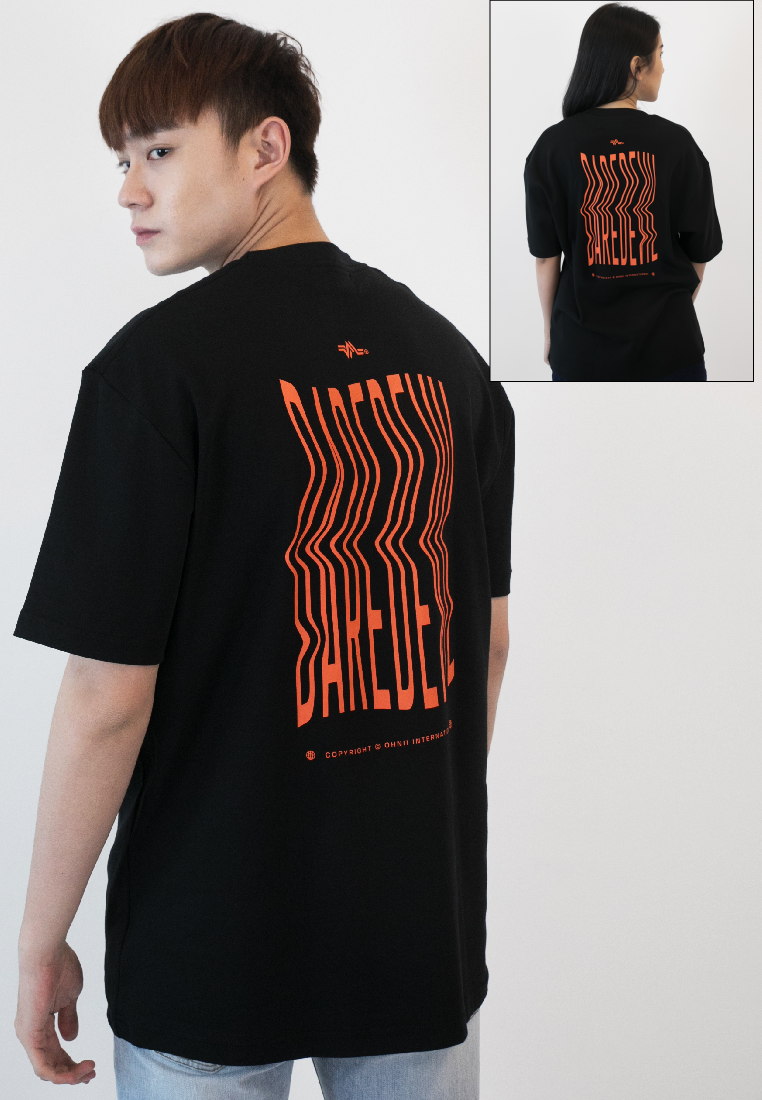 OVERSIZED DAREDEVIL PRINT COTTON JERSEY TSHIRT - Ohnii Official Site