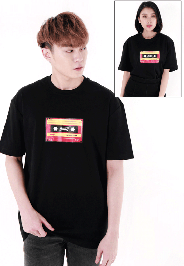 OVERSIZED LOGO CASSETTE PRINT COTTON JERSEY T-SHIRT - Ohnii Official Site