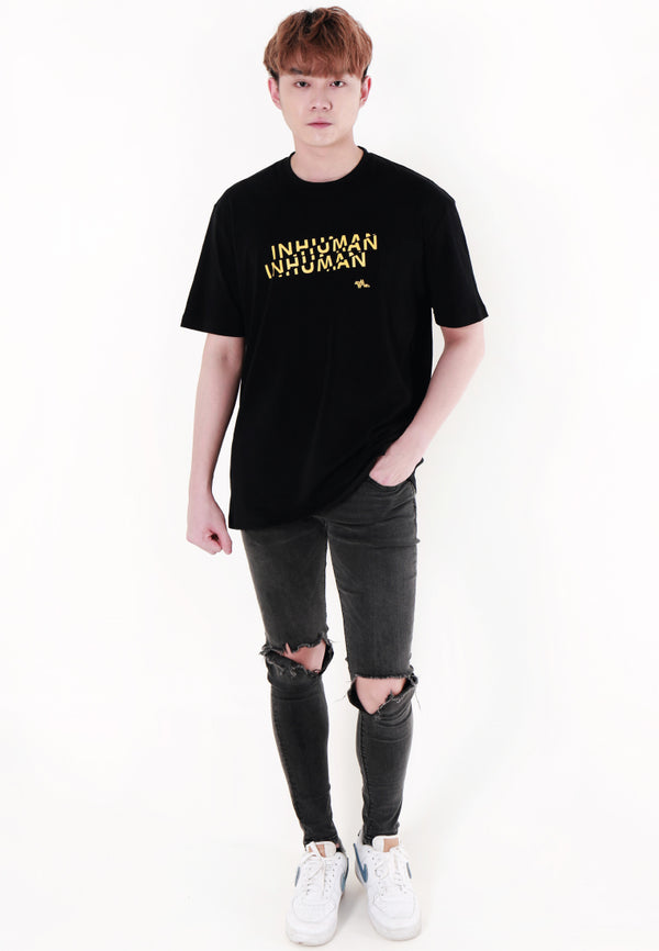 OVERSIZED INHUMAN PRINT COTTON JERSEY T-SHIRT - Ohnii Official Site