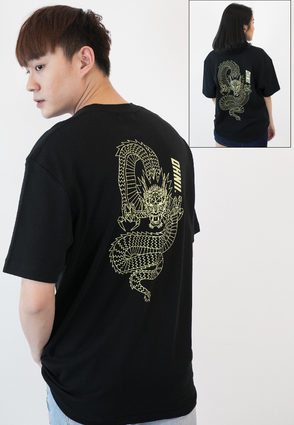 OVERSIZED DRAGON PRINT COTTON JERSEY TSHIRT - Ohnii Official Site