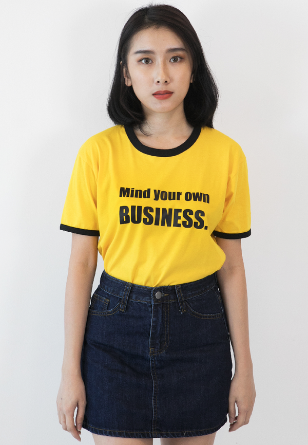 BLAQUIIN MIND YOUR OWN BUSINESS RINGER TEE (YL/BL)